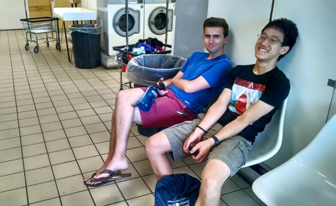 Ernest (left) and Jason (right) doing laundry!