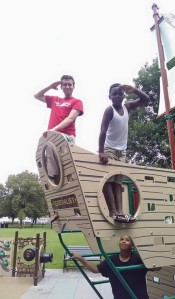 Ernest (left) at the playground on Fed Hill for a field trip