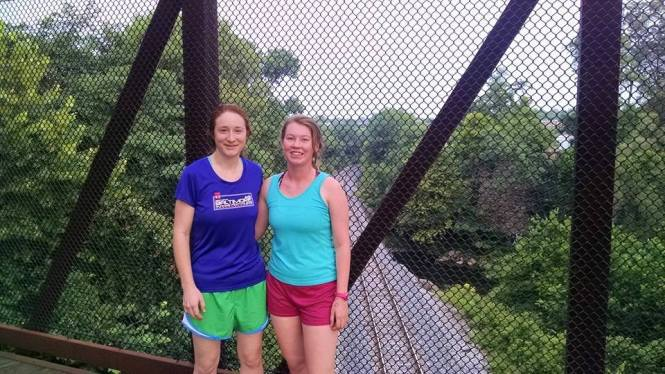 Megan (left) and Jo (right) on an early morning run